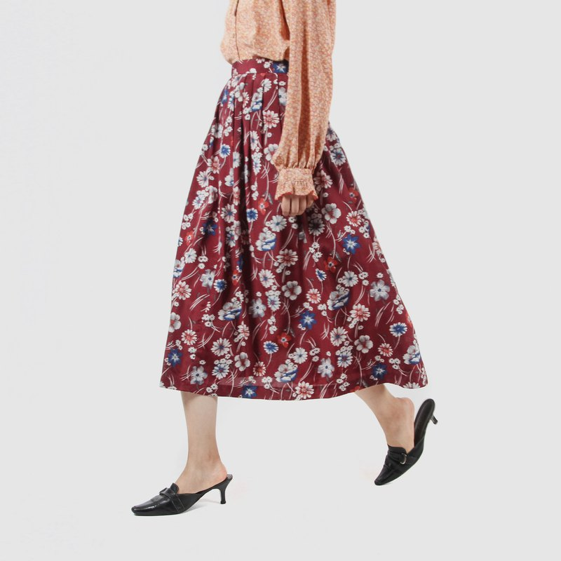 [Egg Plant Vintage] Windy Shower Printed Skirt