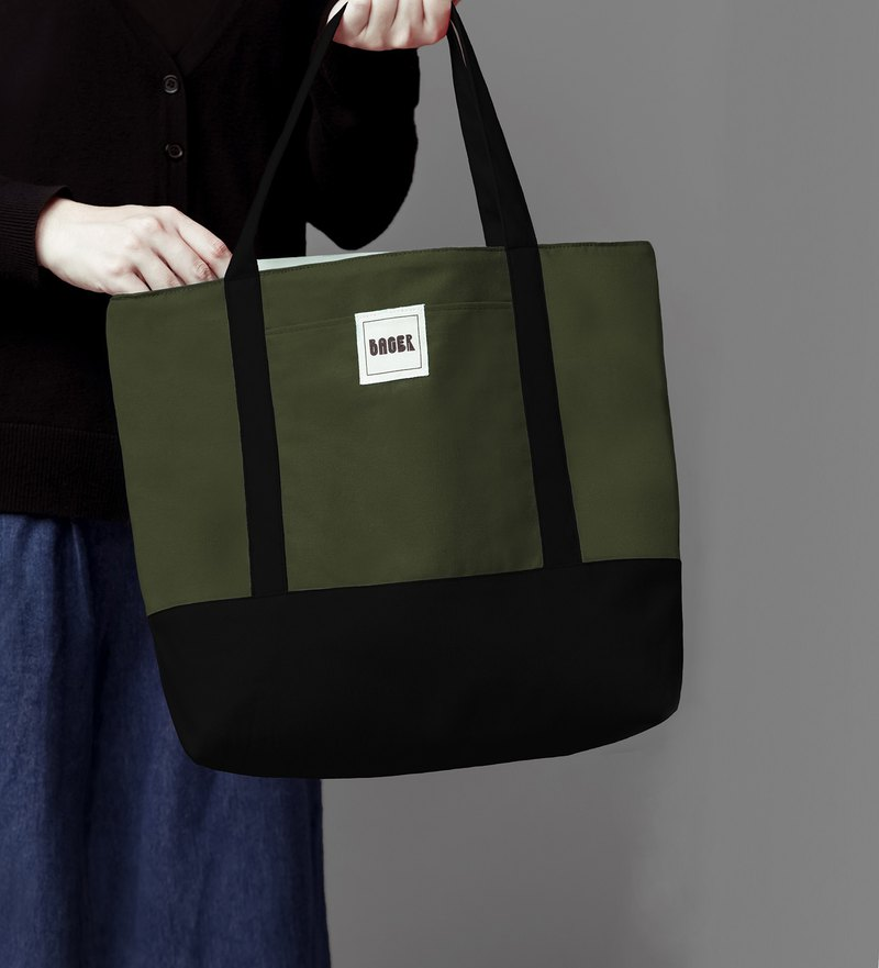 Classic color matching big tote bag army green + black