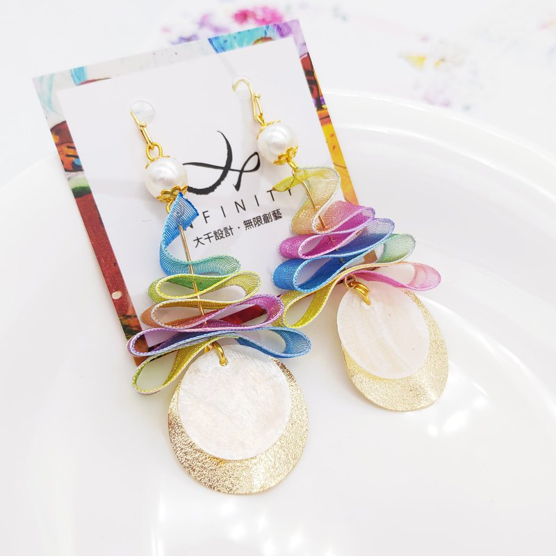 Daqian design rainbow ribbon gay Christmas tree natural mirror shell earrings / clip gift lover