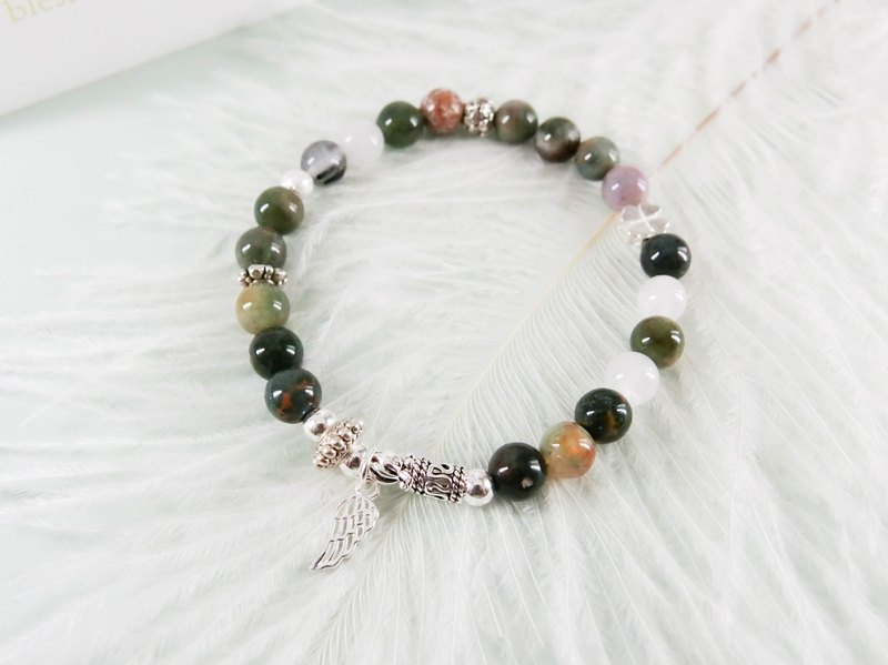 Green Lakeside Natural Stone Silver Bracelet │玥unicorn Valentine's Day Christmas Secret
