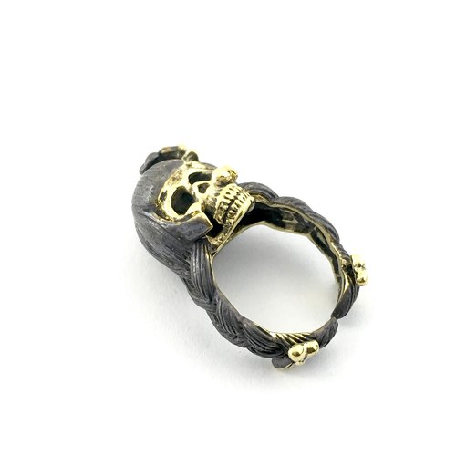 Zodiac Virgin skull ring is for Virgo in Brass and oxidized antique color ,Rocker jewelry ,Skull jewelry,Biker jewelry