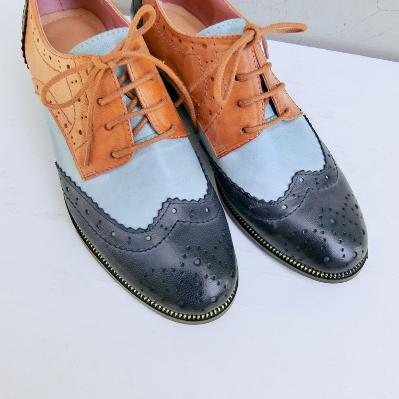 Colorblock carved leather oxford shoes||Budapest night ink blue|| 8246