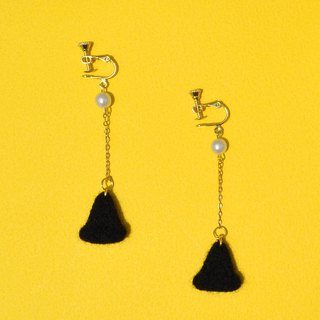 Halloween Black Witch Hat Wool Felt Earrings / Ear Clips