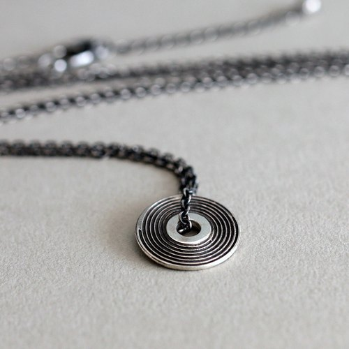 Vinyl record silver necklace 01