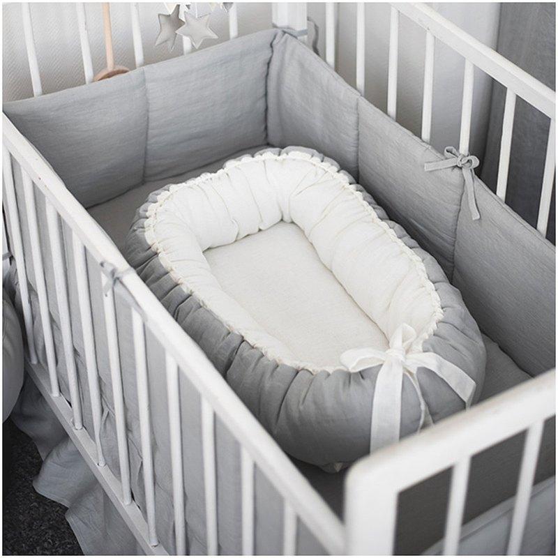 麻白色灰色嬰兒窩-中性性別新生兒睡床