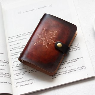 Dark Brown Maple Leaf A5 A6 A7 Six Hole Loose-leaf Notebook Handbook Leather Notepad Exchange Gift