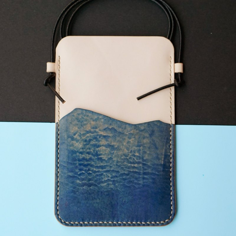 ◄ ► zero glittering sea // phone backpack - handmade Italian leather Limited