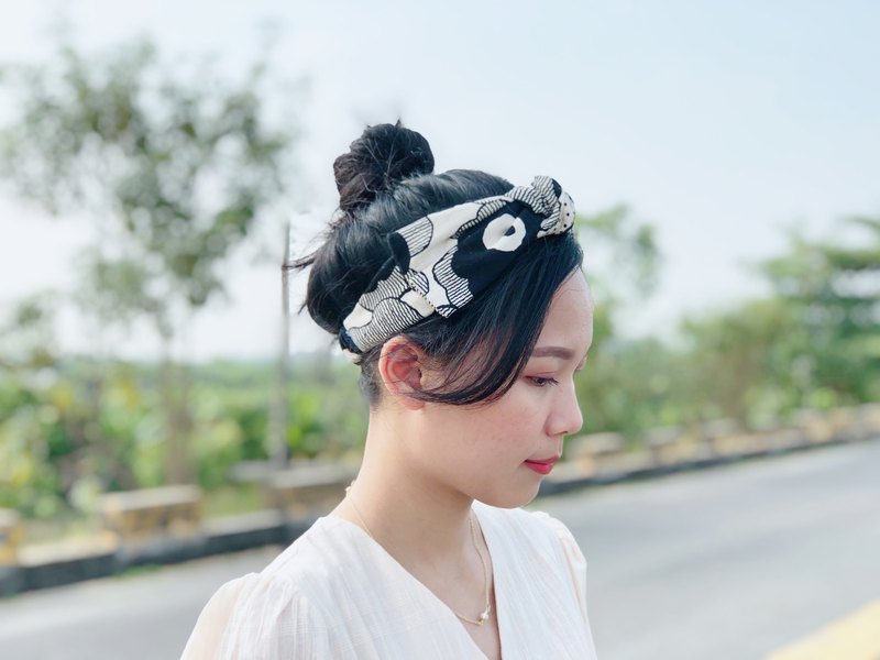 Big butterfly twisted hair band _ ink flower _ Nordic line large flower