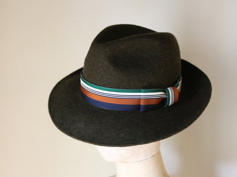 "Wool felt Fedora Hat ""Jean Winter Stripe"""