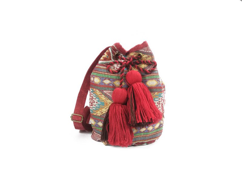 Yellow Blue Aztecs Hmong bucket bag cross body bag whit pom