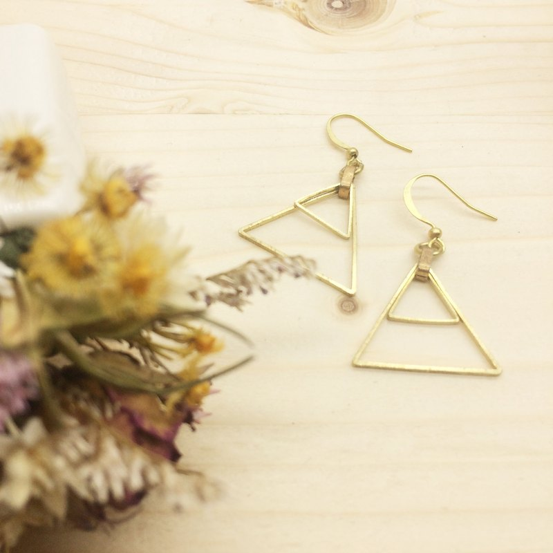 Old forest groceries l hand made brass earrings geometric romance - iron triangle ear hook l ear pin l ear clip