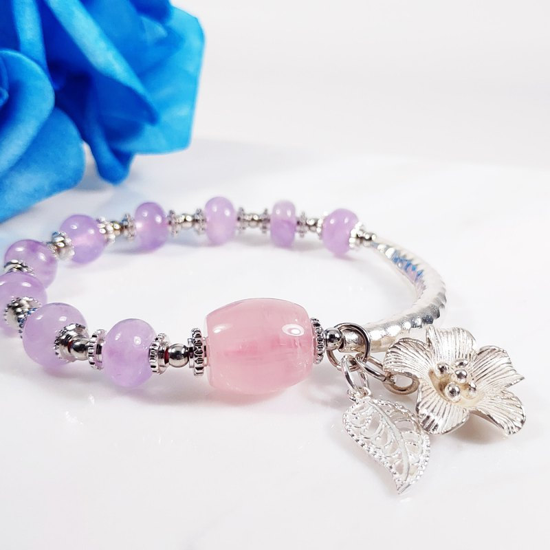 Natural clear powder crystal lavender amethyst silver bracelet custom only one piece