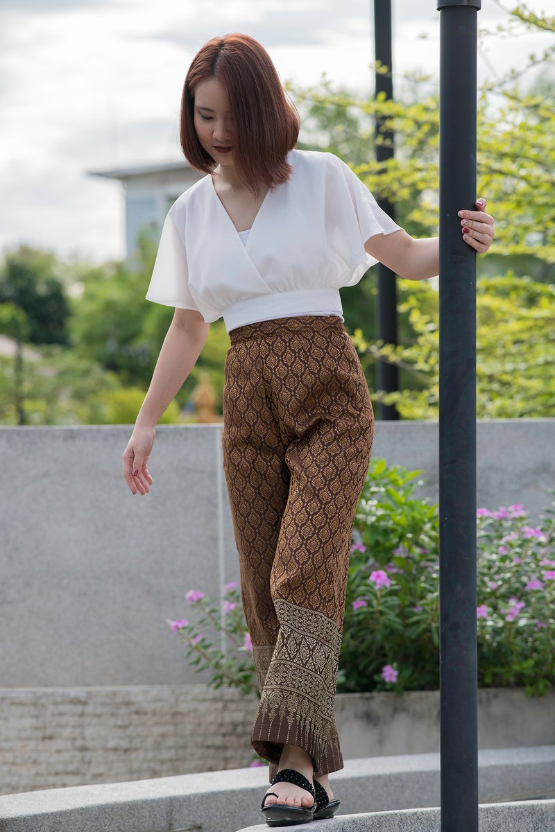 ฺฺBeautiful Synthetic Silk Trousers for Women