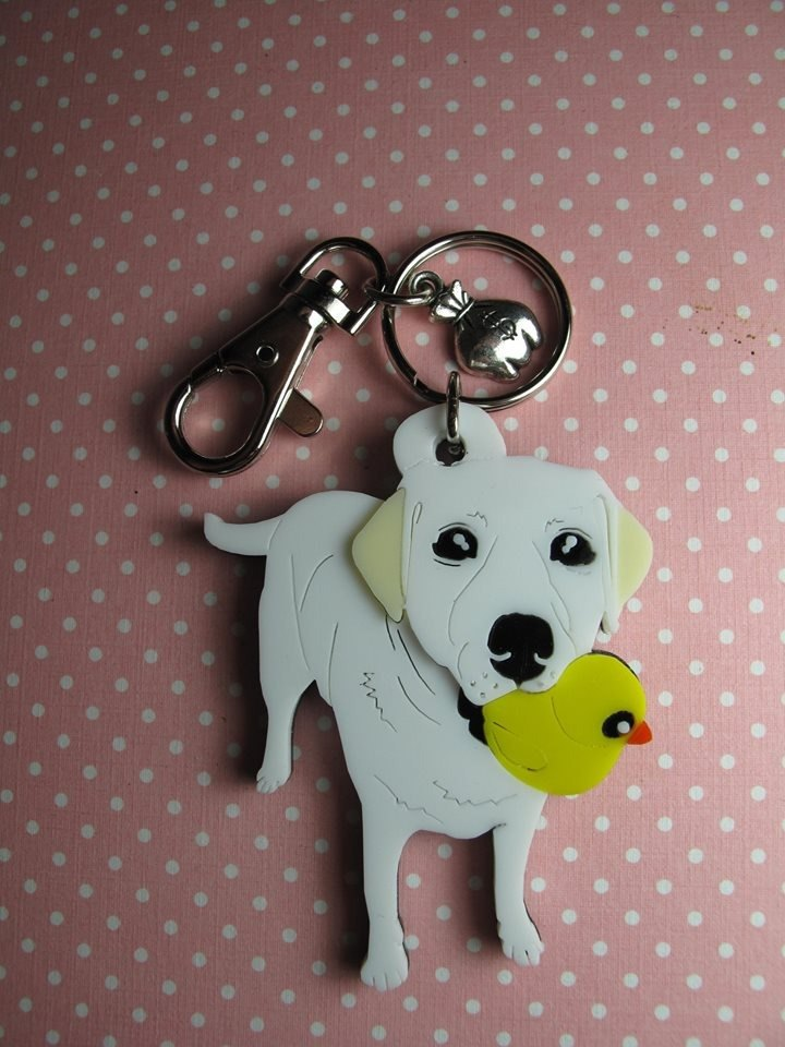 Lectra duck dog ♣ ♣ color (custom) Exclusive Boutique key ring / necklace Labrador [articles]