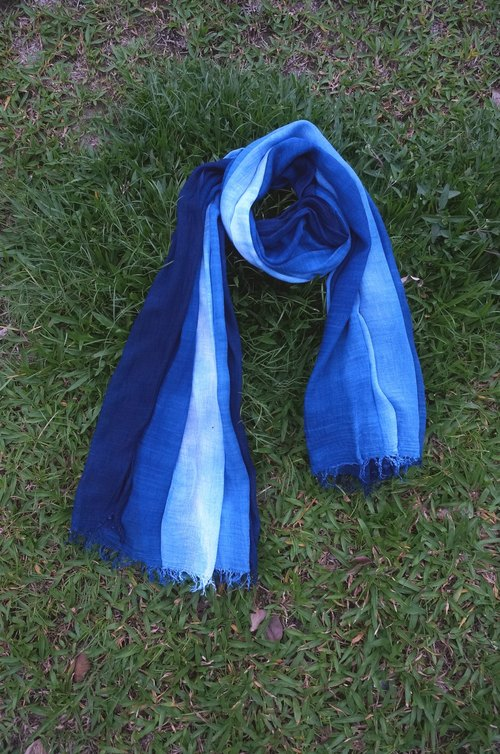 Dahuang blue dye blue gradient cotton shawl scarf