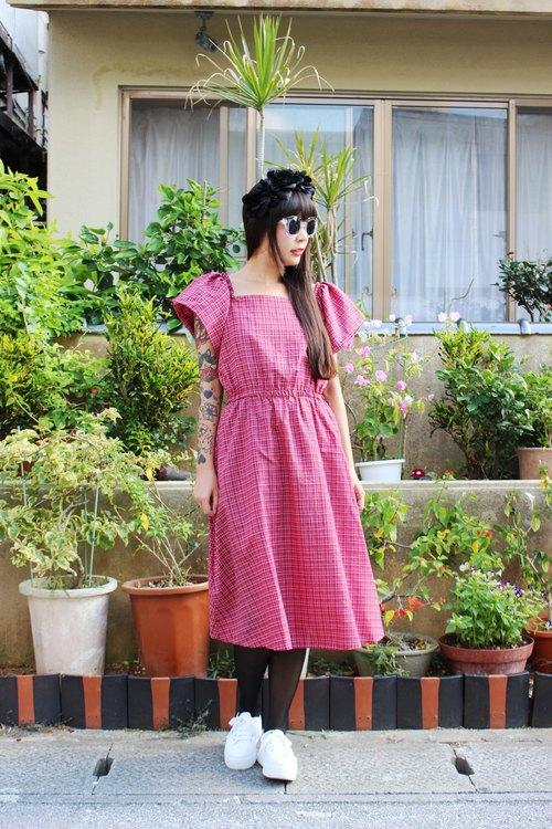 F1501 (Vintage) vintage red plaid short-sleeved cotton dress