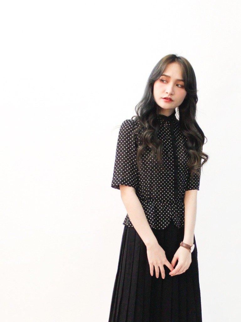 Made in Japan Retro Elegant Black Dotted Collar Short Sleeve Vintage Dress Japanese Vintage Dress