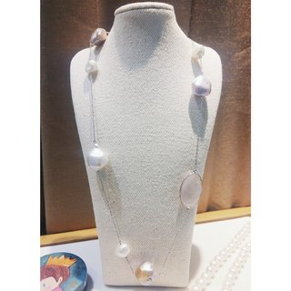 Rose Quartz with Pearl Necklace - Shooting Star