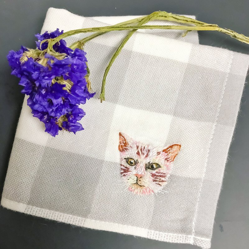 Feel the embroidery / custom order embroidery animal cat handkerchief MUJI hand towel