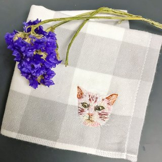 Feeling Embroidery / Custom Order Embroidery Animal Cat Handkerchief Muji Towel