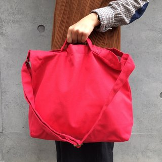 2 way canvas tote bag-Red No.1
