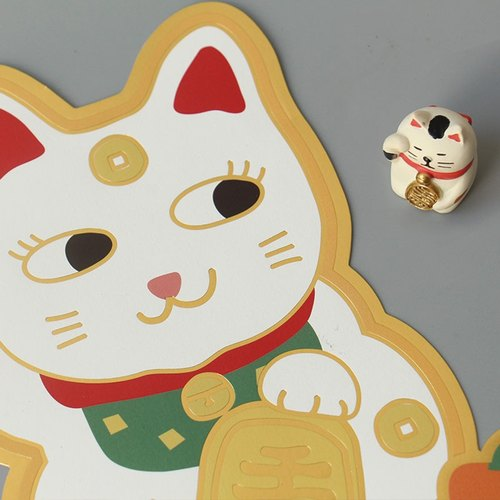 U-PICK original product life New Year door stickers creative door stickers New Year width peach Lucky Cat Cat door stickers