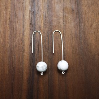 Minimal Series White Stone - 925 Sterling Silver Earrings