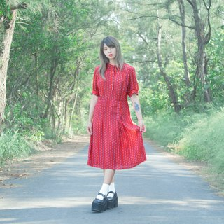 Blue chain red short-sleeved vintage dress
