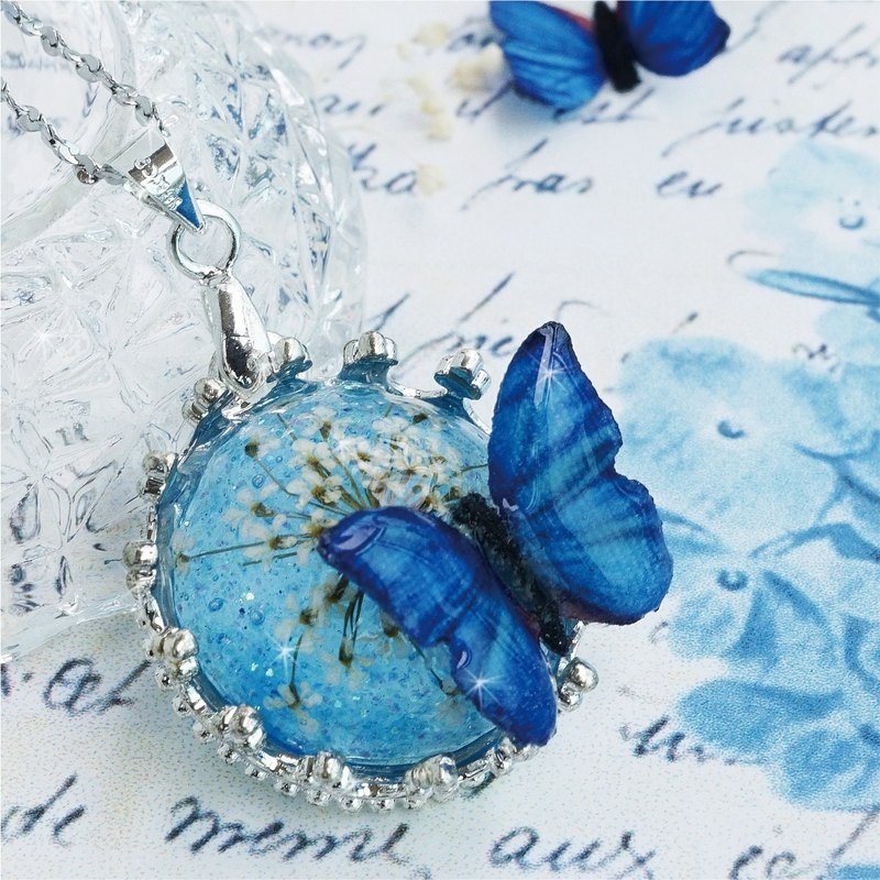 Sheep's milk home * Blue Butterfly / Eternal Flower / Stainless Steel Necklace