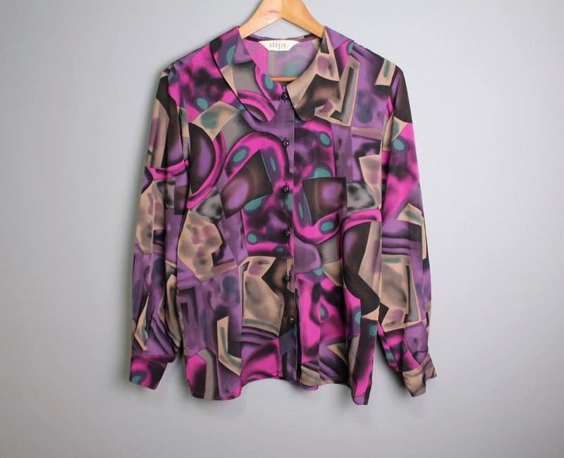FOAK ancient space abstract purple green shirt
