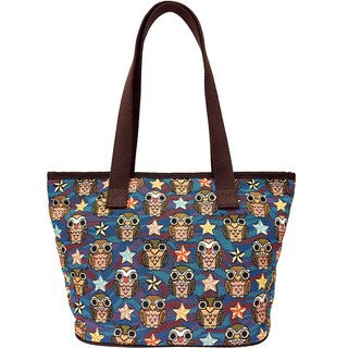 Jacquard weave painting Tote night owl coffee