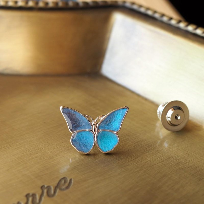 Small pin brooch with morpho butterfly splashes