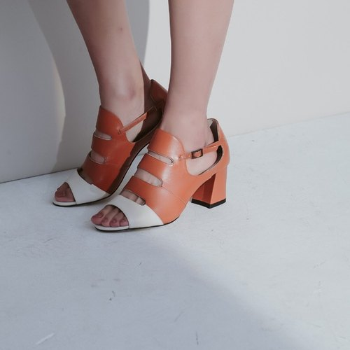 Oval basket empty exposed toe thick with leather sandals orange