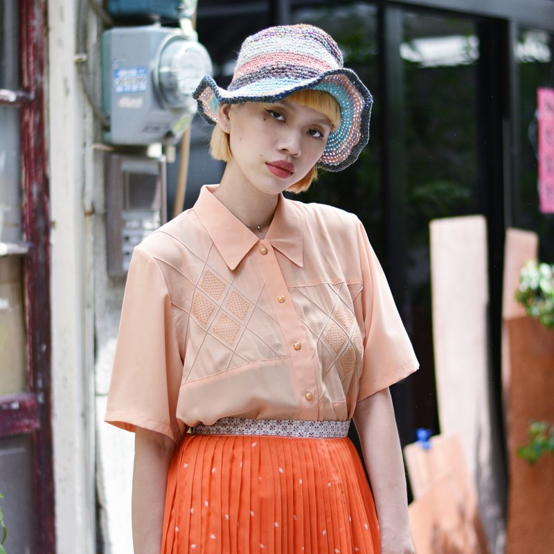 Pearl orange | short-sleeved vintage shirt
