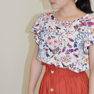 Flat 135 X Taiwan Designer White Floral Chiffon Cloth Double Lotus Sleeve Top