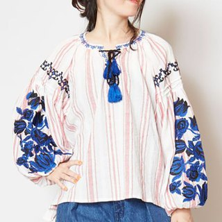 Pre-order spikes delicate embroidery lantern sleeves shirt IDS-8228 two-color