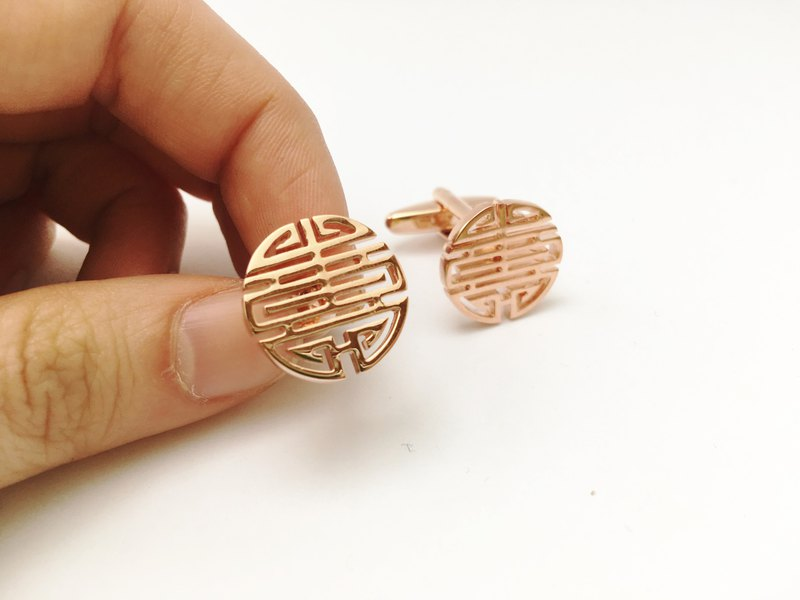 Longevity cufflinks rose gold / gold Longevity Cufflink