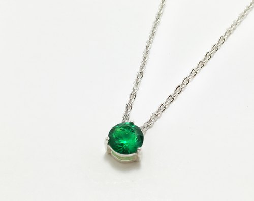 ★ ★ Emerald May Birthstone silver plated white K necklace EMERALD│925 │ constellation birthday gift