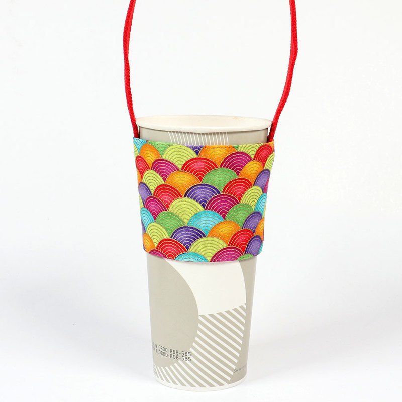 Drink Cup Set Green Cup Set Bag - Rainbow Qinghai Wave