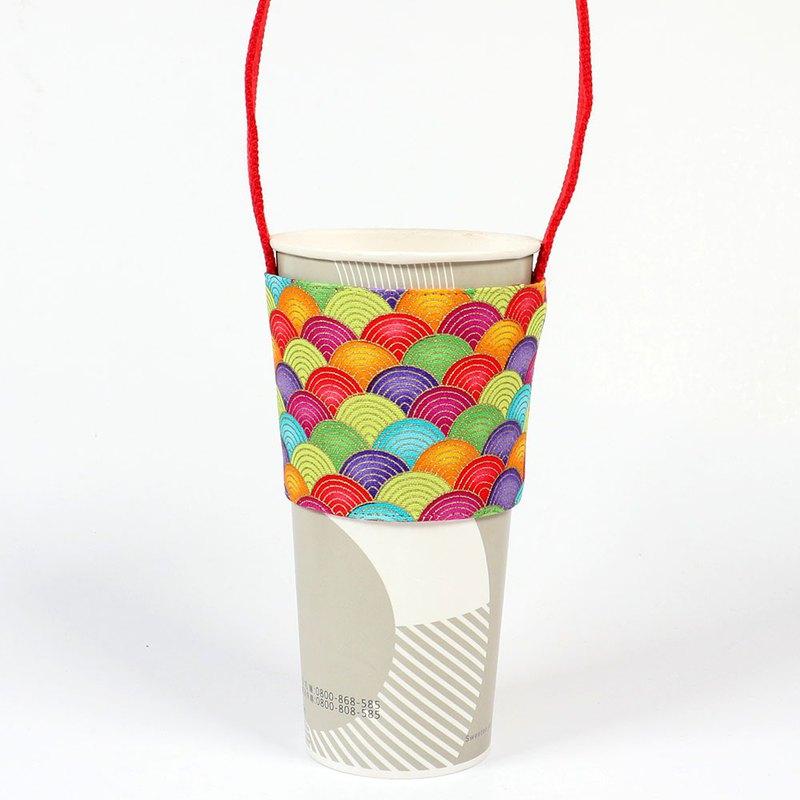 飲料杯套 環保杯套 提袋-  彩虹 青海波