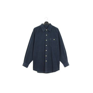 Back to Green :: Corduroy dark blue / / men and women can wear / / vintage Shirts