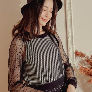 MIT Striped Transparency Mesh Dot Top (R6022A)