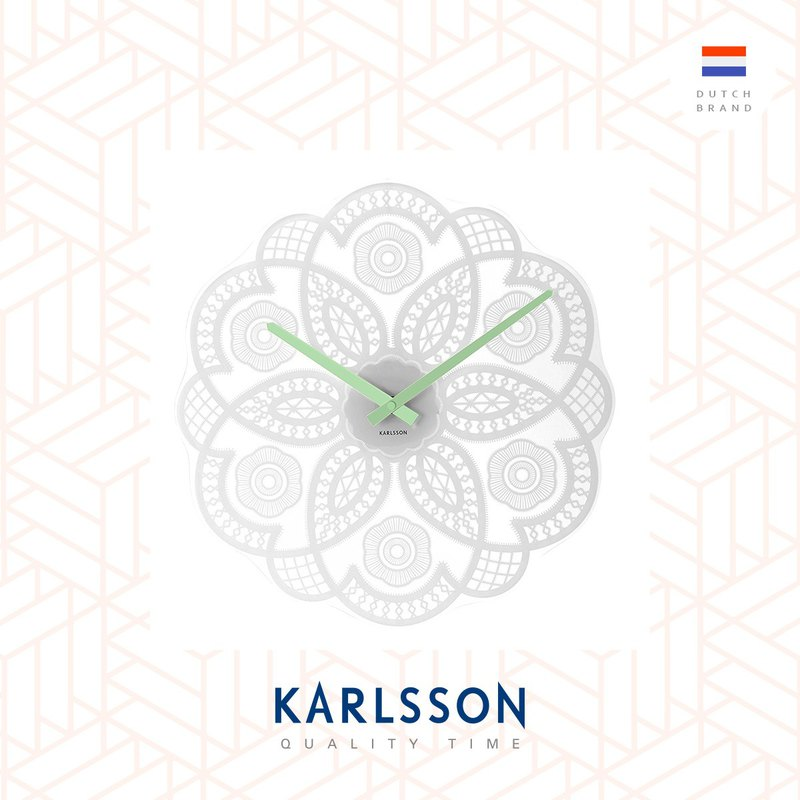 Karlsson, Wall clock Lace cut out white glass