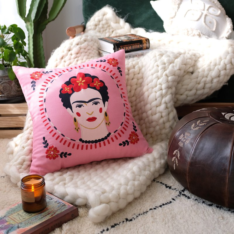 Original Frida Frida head embroidered cotton and linen Mexican national boho sofa pillow cushion