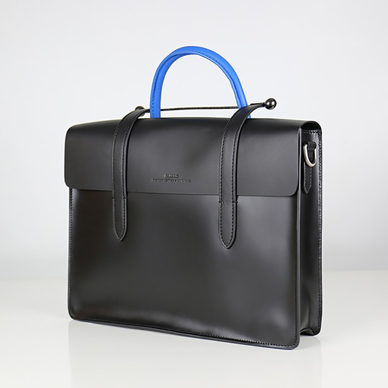 [HANDOS] Musician leather shoulder strap music briefcase - gentleman blue
