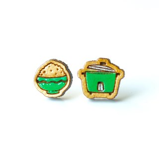 Painted wood earrings-Rice Cooker(green)