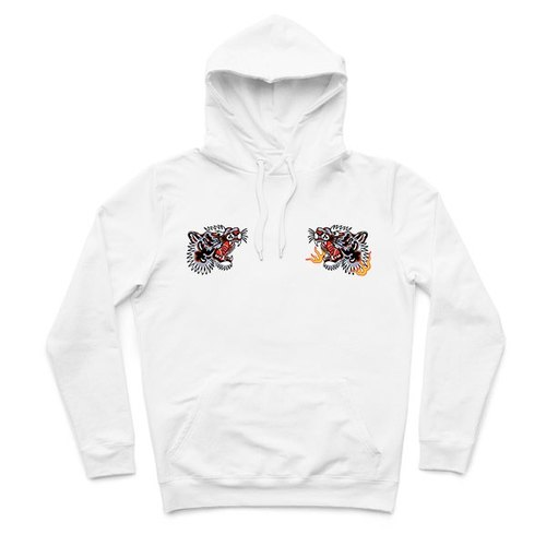 Tiger Fist - White - Hooded T-Shirt