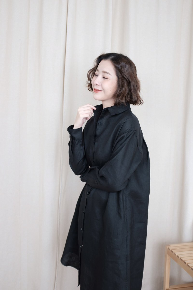 WHITEOAKFACTORY Mia long sleeve linen shirt dress / Coat dress - Black