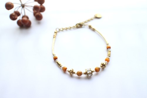 Tiger's eye zircon brass bracelet