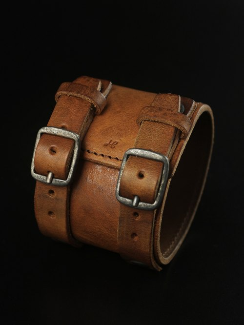 HEYOU Handmade - Leather Cuff 皮革手環(黃褐)